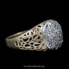 Men's Round Brilliant Cut .50cttw Diamond Kentucky Cluster Ring in 14k Yellow Gold - The Castle Jewelry  - 2