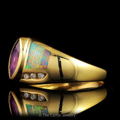 Kabana Marquise Cut Amethyst, Opal Inlays and Diamond Designer Ring in 14k Yellow Gold Setting - The Castle Jewelry  - 2
