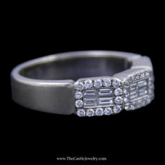 Gorgeous Triple Baguette & round Brilliant Cut diamond Cluster Wedding Band in White Gold - The Castle Jewelry  - 2