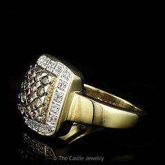 Chocolate & White Round .50cttw Diamond Cluster Ring Set in 14k Gold - The Castle Jewelry  - 2