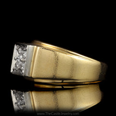 Square Shaped 5 Round Diamond 1/2cttw Cluster Ring Brushed Design Mounting in 14K Yellow Gold - The Castle Jewelry  - 2