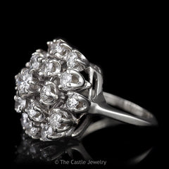 Estate 19 Diamond 2.50cttw Round Cluster Ring in Solid 14K White Gold - The Castle Jewelry  - 2