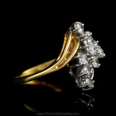 Round Diamond 1cttw Waterfall Cluster Bypass Mounting in 14K Yellow Gold - The Castle Jewelry  - 2