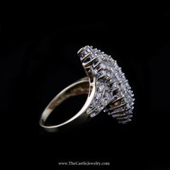 Stunning 2cttw Diamond Waterfall Cluster Ring in 10K Yellow Gold - The Castle Jewelry  - 2