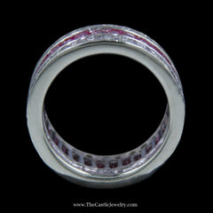 Stunning Baguette Pink Sapphire Band w/ Channel Set Round White Sapphire Edges in White Gold - The Castle Jewelry  - 2