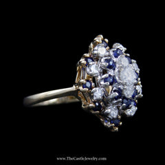 Stunning Marquise Shaped Cluster w/ Diamonds & Sapphires in Yellow Gold - The Castle Jewelry  - 2