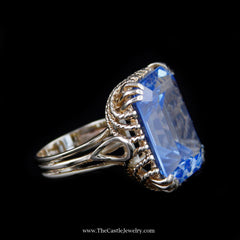 Large Emerald Cut Topaz Ring in Fancy Rope Design Yellow Gold Mounting - The Castle Jewelry  - 2