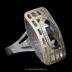 Oval Quartz Ring in Large Etched Open Raised Rectangle Design Mounting in 14k Yellow & White Gold