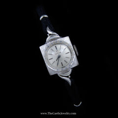 Beautiful Antique Style Omega Watch in White Gold Case with Black Cord Band - The Castle Jewelry  - 2
