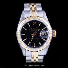 Ladies Rolex Datejust 18K & Stainless Jubilee w/ Black Dial & 2 Year Warranty - The Castle Jewelry  - 2