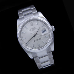 Authentic Rolex Date 34mm 115234 w/ 18K Fluted Bezel Stainless Oyster Bracelet - The Castle Jewelry  - 2