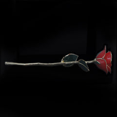Genuine Red Rose Preserved Lacquer Dipped 24K Gold Long Stemmed in Gift Box - The Castle Jewelry  - 2