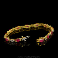 Ruby & 1cttw Diamond Tennis Bracelet 7.5 Inches Long in 10K Yellow Gold - The Castle Jewelry  - 3