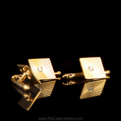 Diamond Cuff Links and Shirt Buttons in 14K Yellow Gold - The Castle Jewelry  - 3