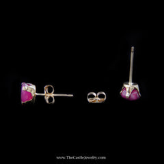 Beautiful Oval Ruby Stud Earrings in Yellow Gold