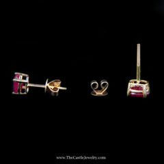 Beautiful Oval Ruby Stud Earrings in Yellow Gold - The Castle Jewelry  - 3