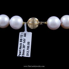 Gorgeous Genuine 12-13 Millimeter South Sea Pearls 20 Inches with 14K Gold Clasp - The Castle Jewelry  - 3