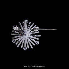 Stunning Diamond Starburst Design Pendant/ Pin in 14k White Gold - The Castle Jewelry  - 3