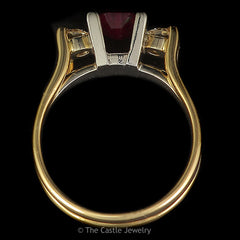 Emerald Cut 3 Stone Ruby Ring with Two Diamond Accents .33cttw Set in 14k Yellow Gold - The Castle Jewelry  - 3