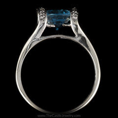 Oval Blue Topaz Ring with Split Shank Curved Cathedral Mounting in 14K White Gold - The Castle Jewelry  - 3