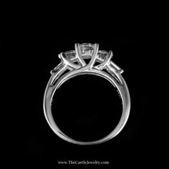 Stunning 1cttw DeBeers Style Diamond Ring w/ Baguette Sides in White Gold - The Castle Jewelry  - 3