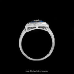Unique Triangle Shaped Cluster Ring with Blue & White Diamonds in 14K White Gold - The Castle Jewelry  - 3
