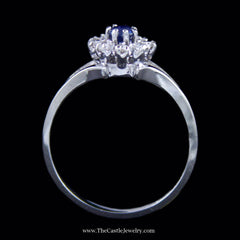 Lovely Round Sapphire Ring w/ Diamond Halo & Split Style Mounting in White Gold - The Castle Jewelry  - 3