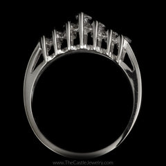 Graduated Marquise Diamond Anniversary Ring 3/4cttw in 14K White Gold - The Castle Jewelry  - 3