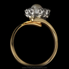 Double Pearl Bypass Ring w/ 1/4cttw Round Diamond Accents in 14K Yellow Gold - The Castle Jewelry  - 3