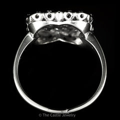 Round Diamond Ring With Square Shaped Open Mounting Crafted in Platinum - The Castle Jewelry  - 3