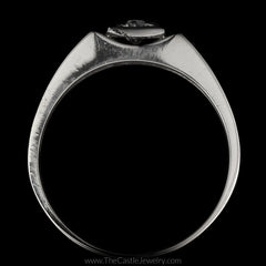 Fantastic Men's Ring Old European Cut Diamond with Laser Cut Concave Sides in 10K White Gold - The Castle Jewelry  - 3