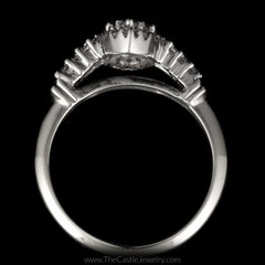 Marquise Shaped Round Diamond Cluster Engagement Ring Halo & Diamond Sides in 14K White Gold - The Castle Jewelry  - 3