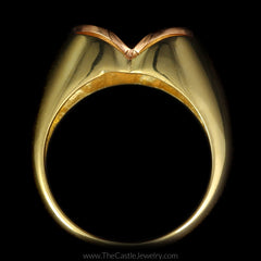 Unique Satin Finish Two Toned Heart Ring in 18K Yellow and Rose Gold - The Castle Jewelry  - 3
