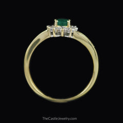 Oval Emerald Ring with 1/2cttw Round & Baguette Diamond Accents in 14K Gold - The Castle Jewelry  - 3