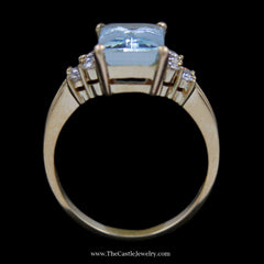 Stunning Emerald Cut Aquamarine Ring w/ Round Diamond Cluster Sides in 18k Yellow Gold - The Castle Jewelry  - 3