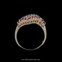 Gorgeous Wave Design Diamond and Ruby Cluster Ring In 10K Yellow Gold - The Castle Jewelry  - 3