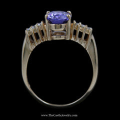 Gorgeous Oval Cut Tanzanite Ring w/ Round Brilliant Cut Diamond Sides in 14k Yellow Gold - The Castle Jewelry  - 3