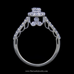 Gorgeous Round Brilliant Cut Diamond Bridal Set w/ Surprise Diamond Mounting in 14k White Gold - The Castle Jewelry  - 3