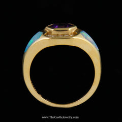 Designer Kabana Ring w/ Fancy Cut Amethyst & Opal Inlay Accents in 14K Gold - The Castle Jewelry  - 3
