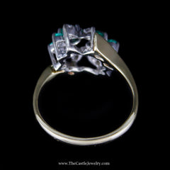Lovely Round Emerald & Diamond Ring in Bypass Design Mounting in Yellow Gold - The Castle Jewelry  - 3