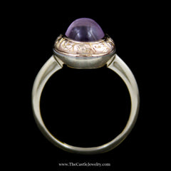 Charming Oval Cabochon Amethyst Ring w/ Swirl Design Bezel in 14k Yellow Gold - The Castle Jewelry  - 3
