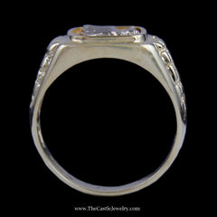 Men's Eagle Ring w/ Rectangle Design Bezel & Nugget Design Sides in Yellow & White Gold - The Castle Jewelry  - 3