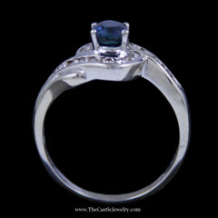 Gorgeous Oval Sapphire Ring w/ Channel Set Round Diamond Bypass Design Mounting in White Gold - The Castle Jewelry  - 3