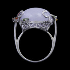 Oval Lavender Jade Ring w/ Round Diamond Swirl & Pink/Green Tourmaline Accents in 18k White Gold