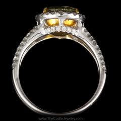 Natural Yellow Diamond Engagement Ring w/ Diamond Accents in 18K White Gold - The Castle Jewelry  - 3