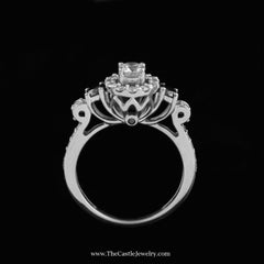 Round Diamond Engagement Ring w/ Halo & Black Diamond Accents 14K White Gold - The Castle Jewelry  - 3