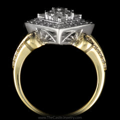 Unique Square Shaped 3/4cttw Diamond Cluster Ring in 14K Two-Toned Gold - The Castle Jewelry  - 3