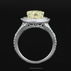 Stunning Natural Fancy Yellow Heart Shaped Diamond Engagement Ring w/ Double Halo - The Castle Jewelry  - 3