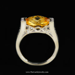 Oval Fantasy Cut Citrine Ring W/ Round Diamond Sides in 14K White Gold - The Castle Jewelry  - 3