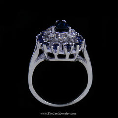 Pear Shaped Sapphire and Diamond Cocktail Ring in 14K White Gold - The Castle Jewelry  - 3